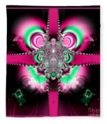 Pink Ribbons And Bow Fractal 75 Fleece Blanket
