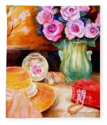 Pink Roses In A Green Vase With A String Of Pearls And A Pretty Summer Straw Hat  Fleece Blanket