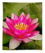 Pink Water Lilly Fleece Blanket