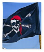 Pirate Flag Skull With Red Scarf Fleece Blanket
