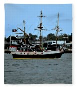 Pirate Ship Of The Matanzas Fleece Blanket