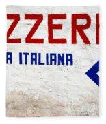 Pizzeria Advertising Sign Fleece Blanket