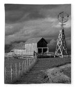 Plains Frontier Farm And Windmill At 1880's Town In South Dakota Fleece Blanket