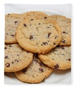 Plate Of Chocolate Chip Cookies Fleece Blanket