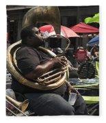 Playing The Tuba _ New Orleans Fleece Blanket