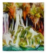 Plitvice Falls Fleece Blanket