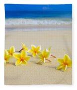 Plumerias On Beach II Fleece Blanket