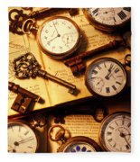Pocket Watches And Old Keys Fleece Blanket