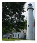 Pointe Aux Barqes Lighthouse Fleece Blanket