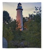 Pointe Aux Barques Lighthouse 7072 Fleece Blanket