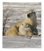 Polar Bear With Cub, Watchee Fleece Blanket