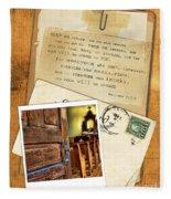 Polaroid Of Open Door To Church With A Bible Verse Fleece Blanket