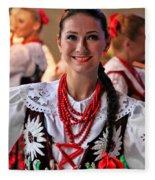 Polish Folk Dancing Girl Fleece Blanket