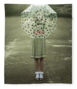 Polka Dotted Umbrella Fleece Blanket