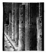 Pompeii Columns Black And White Fleece Blanket