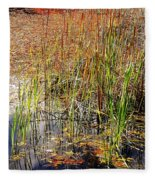 Pond And Rushes Fleece Blanket