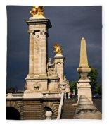 Pont Alexander IIi In Paris Before Storm Fleece Blanket