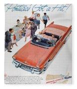 Pontiac Advertisement 1957 Fleece Blanket