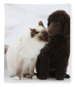 Poodle Pup And Cat Fleece Blanket