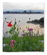 Poppies By The River Fleece Blanket