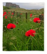 Poppies By The Roadside In Northumberland Fleece Blanket