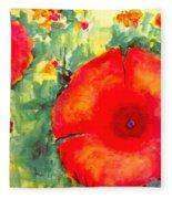 Poppies Face To The Sun Fleece Blanket