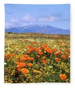 Poppies Over The Mountain Fleece Blanket
