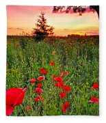 Poppy Patch And Previsualization Fleece Blanket