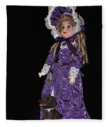 Porcelain Doll - Full View With Puppy Fleece Blanket