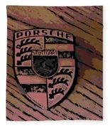 Porsche On Wood Fleece Blanket