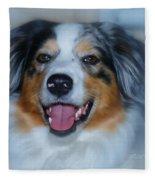 Portrait Of A Dog Lady Fleece Blanket
