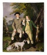 Portrait Of A Sportsman With His Son Fleece Blanket
