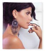 Portrait Of A Woman Wearing Jewellery Fleece Blanket