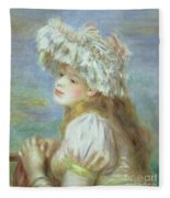 Portrait Of A Young Woman In A Lace Hat Fleece Blanket