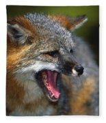 Portrait Of Gray Fox Barking Fleece Blanket