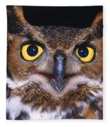 Portrait Of Great Horned Owl Fleece Blanket