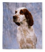 Portrait Of Irish Red And White Setter Fleece Blanket