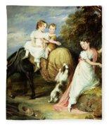 Portraits Of The Children Of The Rev. Joseph Arkwright Of Mark Hall Essex Fleece Blanket