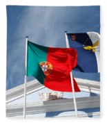 Portugal And Azores Flags Fleece Blanket