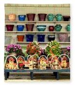 Pots And Birdhouses Fleece Blanket