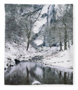 Powerscourt Waterfall In Winter, County Fleece Blanket