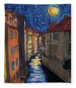 Prague By Moonlight Fleece Blanket
