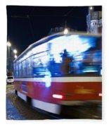 Prague Tram Fleece Blanket