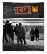 Prague Underground Station Stairs Fleece Blanket
