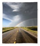 Prairie Hail Storm And Rainbow Fleece Blanket