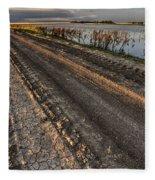 Prairie Road Storm Clouds Mud Tracks Fleece Blanket