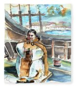 Preaching The Bible On The Conquistadores Boat In Vila Do Conde In Portugal Fleece Blanket