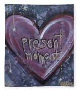 Present Moment Heart Fleece Blanket