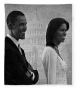 President Obama And First Lady Bw Fleece Blanket