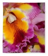 Pretty And Colorful Orchids Fleece Blanket